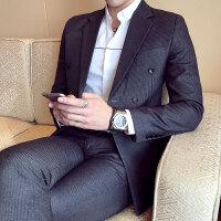新款小西装男春装韩版男士潮款双排扣条纹修身商务西服青少年