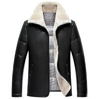 冬季海宁男士中年皮毛一体加绒加厚绵羊皮真皮皮衣皮羽绒服外套男