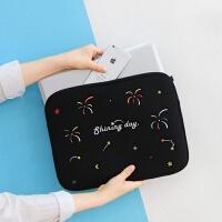 韩国可爱刺绣苹果13寸笔记本电脑包女潮手拿内胆包 黑色 现货 13.3英寸