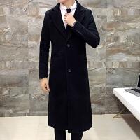 冬装男士过膝超长款修身毛呢大衣英伦中长款风衣加棉商务黑色外套