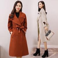 2017秋冬季新款系带宽松毛呢外套中长款韩版长袖斗篷型呢子大衣女