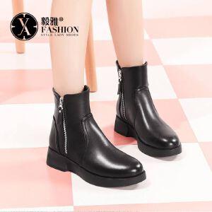 【毅雅】短靴女粗跟圆头女鞋秋冬新款女鞋低跟平底厚底马丁靴女英伦风