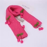 韩版新品秋冬季儿童围巾樱桃毛线针织围脖男女宝宝冬天保暖女学生