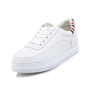 O'SHELL法国欧希尔新品065-959休闲头层牛皮里外全皮真皮松糕底女士板鞋小白鞋