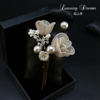 珍珠花朵胸针胸花 布艺丝网花合金别针扣针 简约优雅搭配饰品女