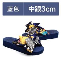 时尚蝴蝶结拖鞋女外穿沙滩鞋坡跟厚底防滑人字拖夏季凉拖 蓝色3CM 尺码偏小一码