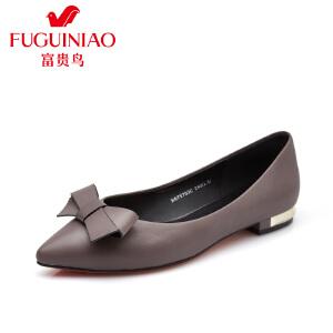 富贵鸟时尚头层牛皮单鞋 尖头纯色蝴蝶结装饰女鞋 低跟浅口单女鞋
