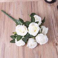假花玫瑰花客厅餐桌摆件花艺插花干花摆设装饰仿真玫瑰花套装花束
