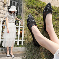 韩版百搭蕾丝网纱女士休闲平底单鞋 新款尖头浅口水钻透气懒人鞋子女