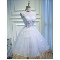 韩版婚纱礼服秋冬季新娘短款结婚敬酒服毕业宴会修身晚礼服女 白色