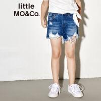 littlemoco夏季新品女童裤子松紧腰破洞抓须撕边毛边牛仔裤短裤