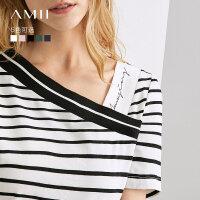 【预估价67元】Amii极简法式心机T恤女2019夏季新款不对称印花斜V领绿色条纹上衣