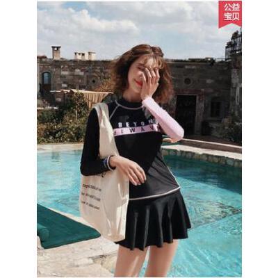 少女泳衣新款显瘦遮肚韩国分体式长袖学生专业运动防晒泳衣女 品质保证 售后无忧