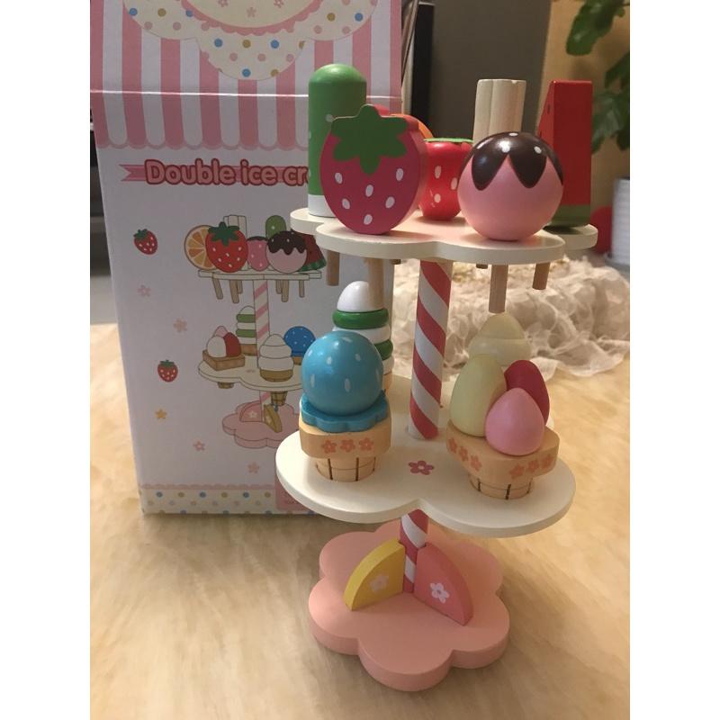 奶油巧克力三层冰淇淋仿真宝宝过家家木制儿童玩具棒冰1-2-3-4岁