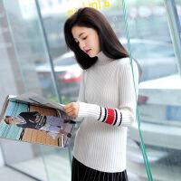 [2.5折价62.4元]唐狮秋冬装打底女毛衣新款小清新女针织衫韩版高领撞色毛衫潮