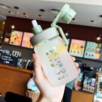 吸管水杯女玻璃杯学生创意可爱便携刻度韩版个性潮流夏天网红杯子