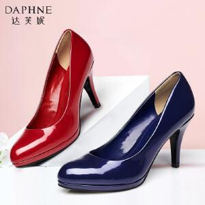 Daphne/达芙妮春季新款女鞋 细高跟时尚漆皮亮面单鞋1015101036