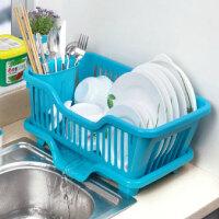 厨房置物架 塑料加厚滴水碗碟收纳架 滤水沥水碗碟架 滴水碗架(正面漏水)--蓝色E2108