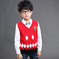 2018新款男童毛衣V领针织背心儿童学院风毛线马夹中大童羊毛坎肩