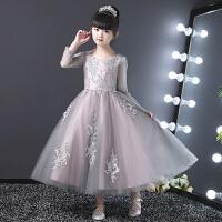 儿童礼服公主裙蓬蓬纱花童女孩钢琴演出服主持人晚礼服长袖夏