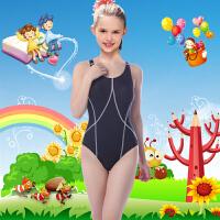 新款女童游泳衣女儿童泳衣专业少女大童泳衣儿童女孩儿童连体泳衣 黑色