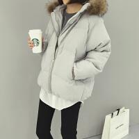 韩观秋冬新款女装韩版宽松毛毛领连帽面包服短外套女学生休闲长袖