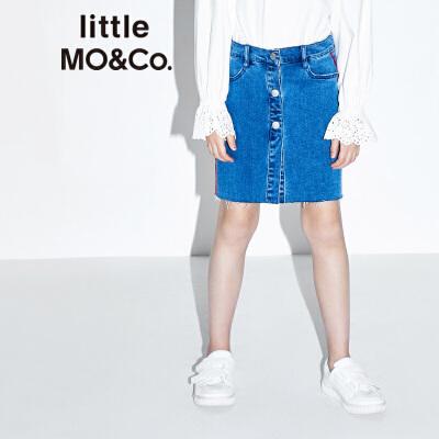 【折后价:110.7】littlemoco女童装中大童纯棉包臀牛仔半身短裙KT1634SKT01 洗水自然毛边 撞色装饰边