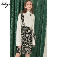 【2件4折到手价:231.6元】 Lily秋新款女装黑白斑马纹高腰修身铅笔背带裙119350C7630