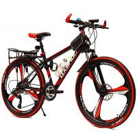 山地自行车铝合金27速双碟刹26寸男女式一体轮变速单车 黑红色 铝合金一体轮