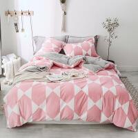 冬季加厚立体提花宝宝绒四件套简约保暖被套床单笠珊瑚绒床上用品 2.0m(6.6英尺)床 床单式