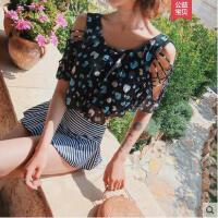 韩版原创设计泳衣女新款温泉分体裙式保守遮肚显瘦小胸游泳衣