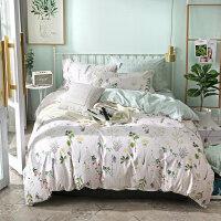家纺简约床上四件套全棉纯棉1.8m床双人田园床单被套1.5米被罩三件套