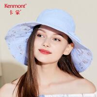卡蒙防紫外线骑车遮阳帽子女士可折叠大檐帽户外夏季电动车防晒帽3417