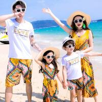 亲子装春夏套装母女连衣裙沙滩海边度假服2018新款家庭装