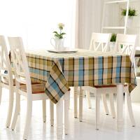地中海茶几长方形格子桌布布艺棉麻餐桌布田园电脑台布正方形