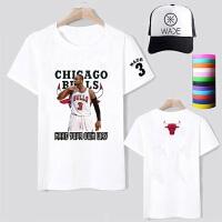 夏季篮球公牛队韦德3号印花短袖T恤男女款篮球运动休闲宽松短袖