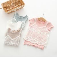 2018韩版童装女童蕾丝假短袖T恤上衣全棉儿童打底衫木耳边领