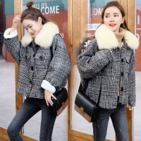 毛呢外套女冬装新款韩版短款加绒加厚原宿复古格子呢子大衣