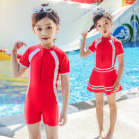 儿童泳衣女连体裙式平角泳裤女童专业训练游泳衣小中大童宝宝泳装