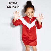 【折后价:147.6】littlemoco春季新品女童裙子运动休闲立领撞色拼接长袖连衣裙