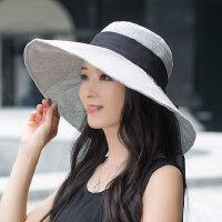 遮阳帽女户外运动防晒帽子大沿帽韩版百搭可折叠沙滩海边女士时尚凉帽