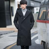 男士羽绒服中长款新款过膝加厚韩版纯色修身冬季潮流外套男装 黑色