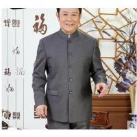 男士中年爸爸装西服立领中山装套装 中老年人中山服外套传统中式服装