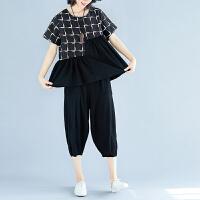 夏季新款格子拼接大码女装短袖上衣+休闲七分裤子两件时尚套装潮