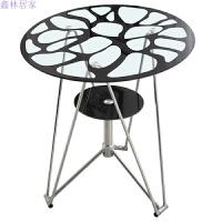 办公洽谈桌咖啡桌钢化玻璃桌子圆形小茶几餐桌办公小圆桌