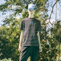 VIISHOW男士短袖T恤男装2018新款夏季条纹体恤修身情侣男生潮牌