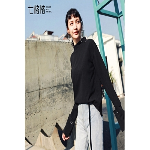 七格格 雪纺衫上衣女2018春装新款秋冬季黑色韩版宽松百搭长袖仙打底衬衫