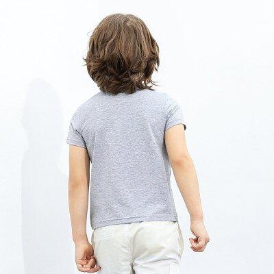 【尾品汇 5折直降】amii童装儿童短袖t恤男童夏2017中大童印花圆领上衣棉半袖打底衫