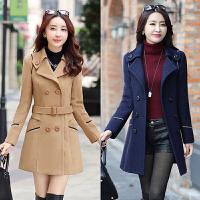 2017新款纯色毛呢大衣修身韩版中长款女冬大衣优雅显瘦双排扣外套