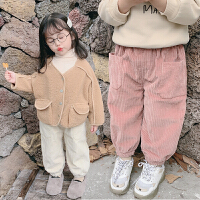 女童秋冬装灯芯绒裤子女宝宝加绒儿童休闲裤童装